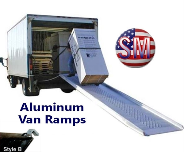 Aluminum walk ramps with hook style end.