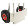 Folding dolly with black urethane flat free wheels. Nose plate folds up to make it more flat. Flat-Free with Black Urethane Tires folded 2