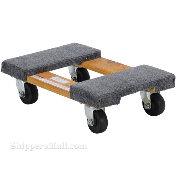 Wood dolly with carpet on the ends. Weight capacity: 900 lb. Part #: HDOC-1218-9