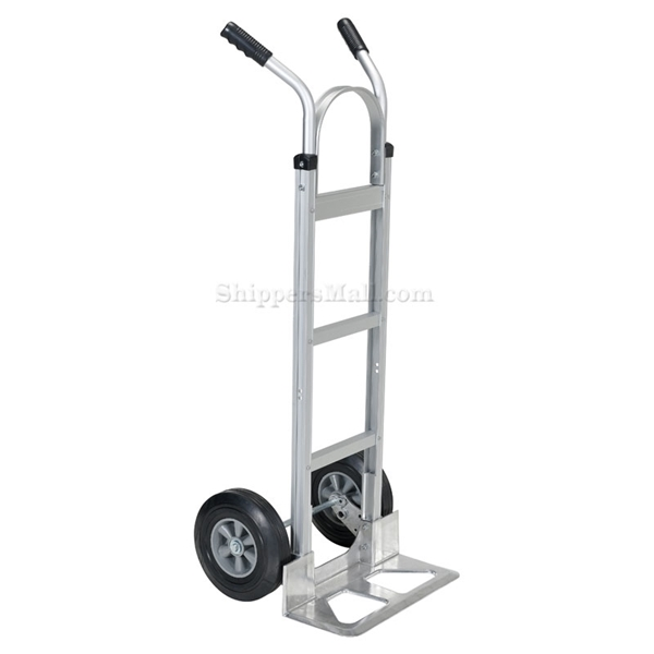 Box dolly with two handles, choose from solid or pneumatic (air filled) wheels, steel or aluminum. Part # DHHT-500A-ANP-HR