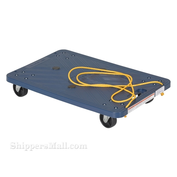 Plastic washable dolly with pull rope is great for the food service industry. One piece molded polyethylene dollies are lightweight and easy to clean. Will not rot, warp, dent, or splinter like wood dollies. Vestil Part #: POS-1624-ROPE