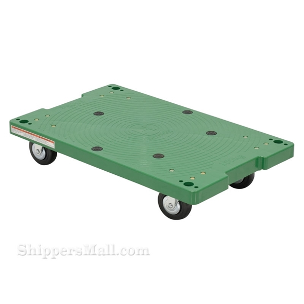 Plastic washable 4 wheel dolly with pull rope is great for the food service industry. One piece molded polyethylene dollies are lightweight and easy to clean. Will not rot, warp, dent, or splinter like wood dollies. Vestil Part #: POS-1830-LD