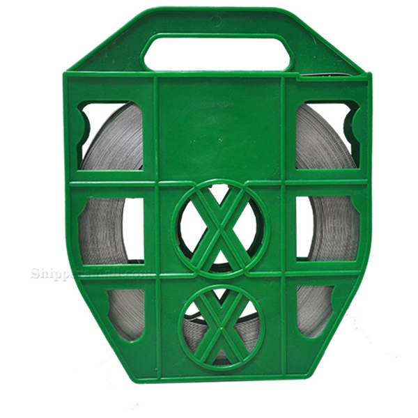 "Stainless Steel Band 5/8"" x 0.030"" x 100' - Green Plastic Dispenser ready to use strapping. MFG#: FTA630715835PG"