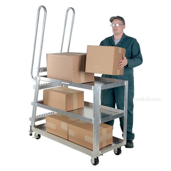 Stockpicker carts for industrial use Heavy duty 500 lb capacity. Vestil Part SPA-HD-2252