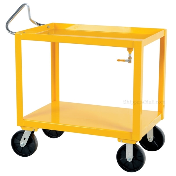 Ergonomic Handle service carts with drain for industrial use or factories great for food industry. - Yellow
