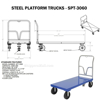 "Steel Platform Truck 3600 lb. Capacity 30 X 60 with 8""x2"" Glass Filled Nylon casters. Part #: SPT-3060 Drawing"