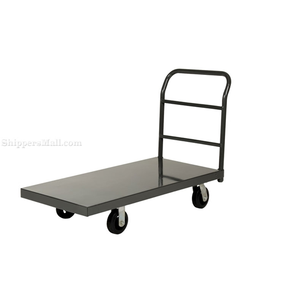 """Steel Platform Truck with 6x2"""" Rubber Casters. Deck size is: 24""""x48"""" and has a 2000 lb. capacity. 6""""X2"""" rubber wheels. Part #: ECSPT-2448"""