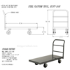 """Steel Platform Truck with 6x2"""" Rubber Casters. Deck size is: 24""""x48"""" and has a 2000 lb. capacity. 6""""X2"""" rubber wheels. Part #: ECSPT-2448 DRAWING"""
