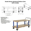 Double Deck Hardwood Platform Cart with a 1600 lb. capacity. Deck size; 30X60 Part #: VHPT/D-3060 Drawing