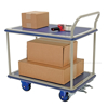 "Platform cart with double deck, Single Handle. Deck size: 24"" X 34"", Part #: TRS-2434-2"