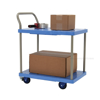 "Plastic platform truck with double shelves, Single Handle, and foot brake. Deck size: 18""x23-7/8"". Capacity: 330. Weight: 32 lb."