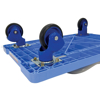 Plastic platform truck with double shelves, Single Handle, and foot brake.  TRP-1824-2-FB
