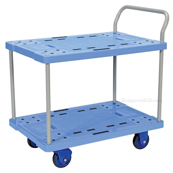 "Plastic Platform Cart with Double Deck & Foot Brake, 23""W X 34""L, Part #: TRP-2334-2"