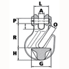 Clevis Cradle Grab Hook (Grade 80), from Peer-Lift Chain Rigging Component drawing