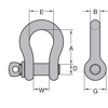 Peer-Lift Alloy Screw Pin Anchor Shackles - Alloy Pin & Body, Chain Rigging Component, PL-ASPAS805-GRP drawing
