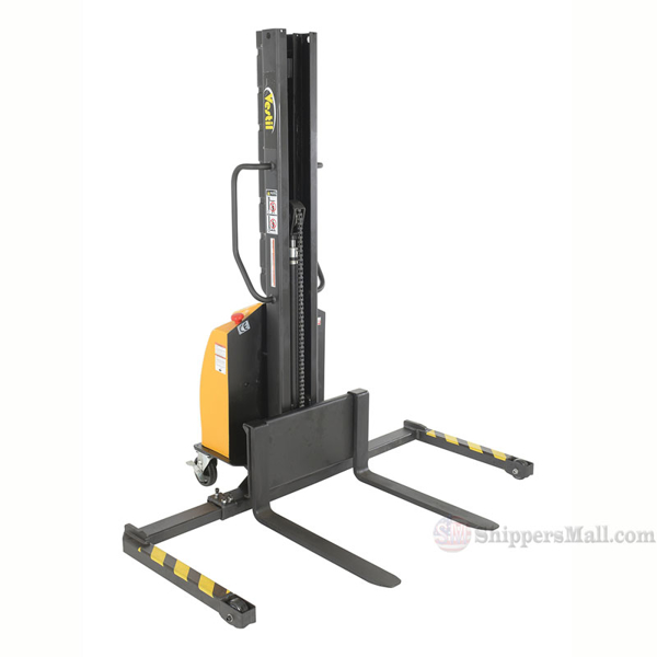 Narrow Mast Stacker with Power Lift and adjustable legs. SLNM-63-AA