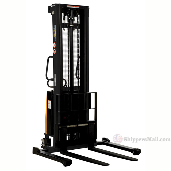"Stacker with Powered Lift - Adj Forks, Adj Legs, 137"" Model: SL-137-AA"