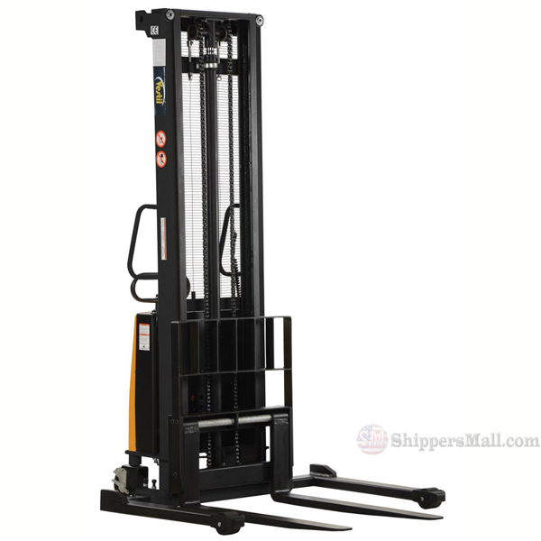 "Stacker with Powered Lift - Adjustable Forks/ Adjustable Support Legs Forks Raise up to 150"" SL-150-AA"