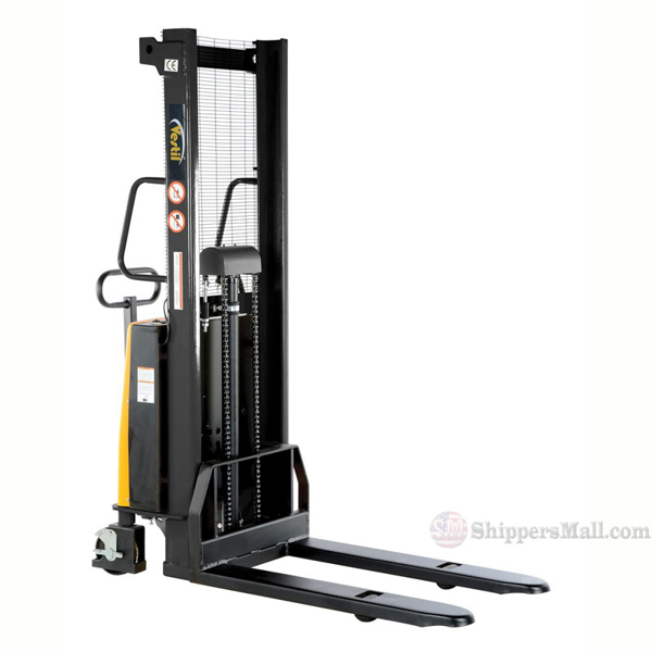 "SL-63-FF - Stacker with Powered Lift - Fixed Forks Over Fixed Support Legs / 63"" H"