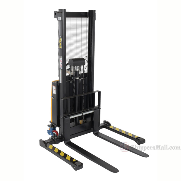 "Powered Lift - Power Drive Stacker - Adjustable Forks/ Adjustable Support Legs Forks Raise up to 63"" Model: SL-63-AA-PTDS"