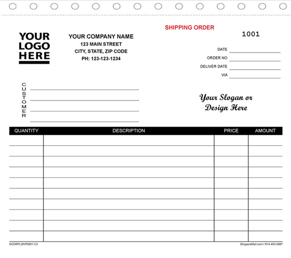 Combo Shipping Order, Delivery Receipt, Packing List & Invoice combination form. SODRPLSNP001