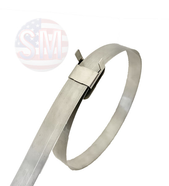 """Stainless steel band with Clip Style Buckle, Type SS 304 in assorted lengths. 3/8"""" X .025'' X 44''"""